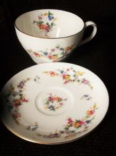 "ELEGANT GILDED OVERSIZE 5.5"" LARGE CUP & NORMAL SAUCER MINTON SPRING FLOWERS"
